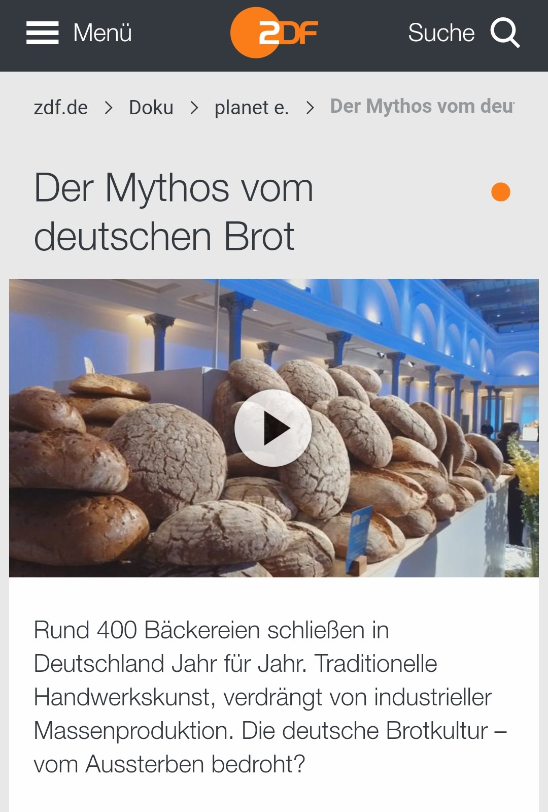 Brot – bei uns kein Mythos